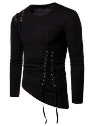 Solid Color Lace-up Long Sleeves T-shirt -