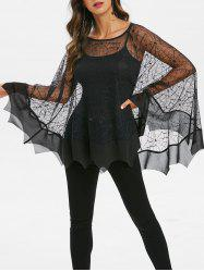 Halloween Lace Spider Web Poncho Blouse -