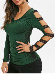Lace Panel Ruched V Neck Tee -