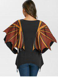 V Neck Asymmetrical T Shirt with Wing -