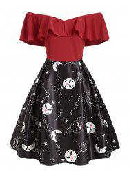 Plus Size Vintage Flounce Printed Off The Shoulder Dress -