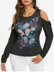 Front Tie Cold Shoulder Butterfly Print T-shirt -
