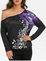 One Shoulder Music Butterfly Print Batwing Sleeve Tee -