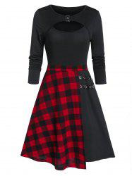 Fit And Flare Plaid Panel Cut Out Dress -