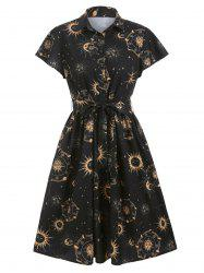 Sun Moon and Star Print Belted Skater Dress -
