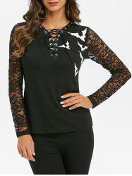Halloween Bat Print Lace Up Grommet T-shirt -