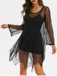 Spider Web Lace Dress And Cami Dress Gothic Set -
