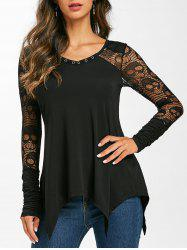 Grommet Lace Panel Sheer Ruched Long Sleeve Tee -