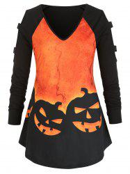 Plus Size Halloween Pumpkin Print Cold Shoulder Tunic Top -