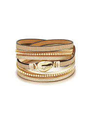 Rhinestone Shell Layers Wrap Bracelet -