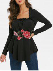 Floral Applique Frilled Long Sleeve Tunic Top -