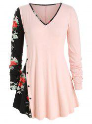 Plus Size Mock Button Floral Panel Tunic Top -
