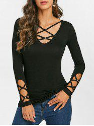 Criss Cross Rivet Long Sleeve T-shirt -
