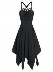 Sleeveless Lace-up Front Handkerchief Gothic Dress -