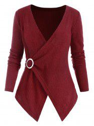 O Ring Cross Front Ribbed Plus Size Knitwear -