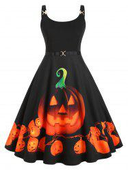 Straps Pumpkin Print Halloween Plus Size Vintage Dress -