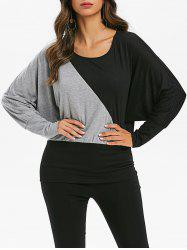 Contrast Batwing Sleeve Blouson T-shirt -