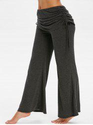 Cinched Fold Over Space Dye Print Flare Pants -