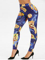 3D Sunflower Pumpkin High Waisted Halloween Leggings -