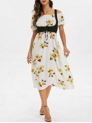 High Waist Floral Print Dress with Lace Up Top -