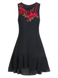 Embroidered Sleeveless Fit And Flare High Low Dress -