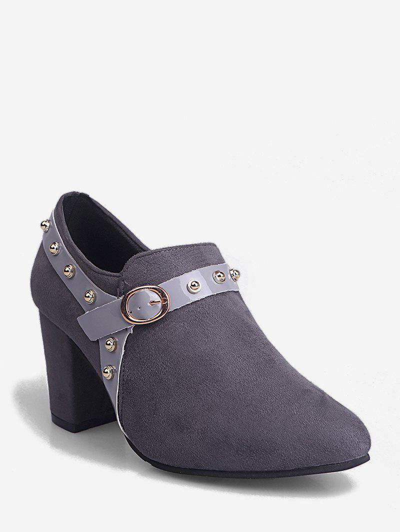 Buy Contrast Stud Strap Chunky Heel Ankle Boots