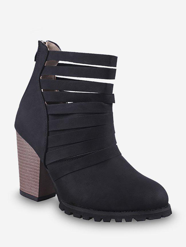 Affordable Caged Stacked Chunky Heel Short Boots