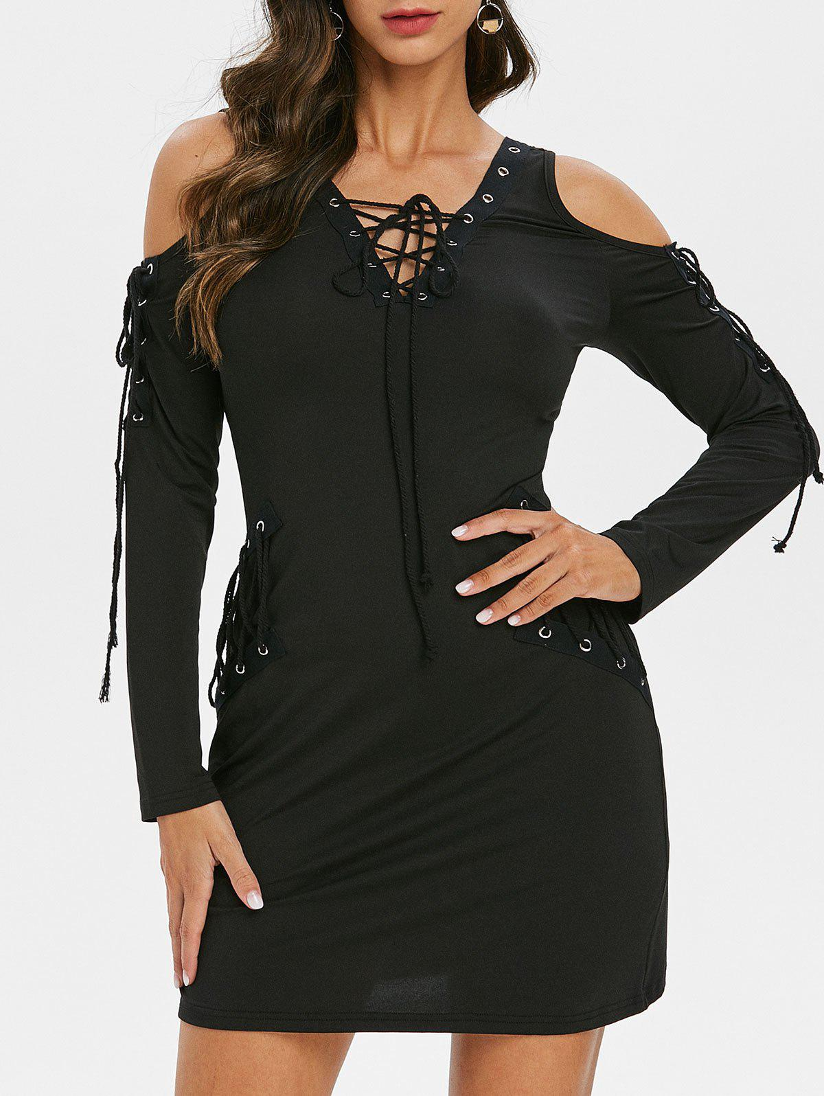 Buy Lace Up Long Sleeve V Neck Mini Dress
