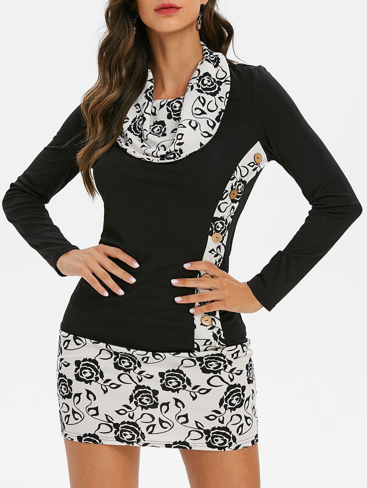 New Floral Button Embellished Cowl Neck T-shirt