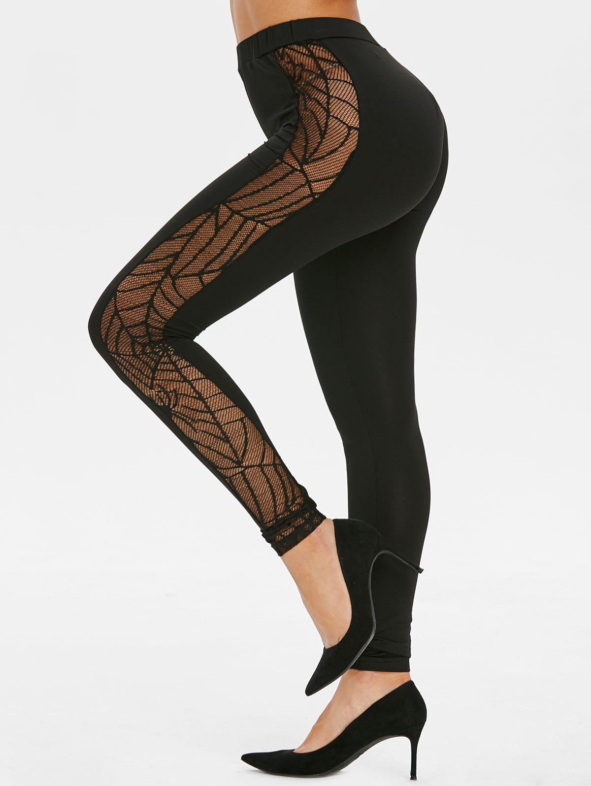 Shop Sheer Spider Web Lace Gothic Skinny Leggings