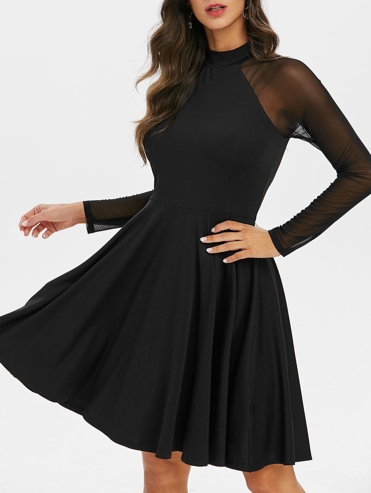 Shops Ragalan Sleeve Mesh Insert Mini Flare Dress