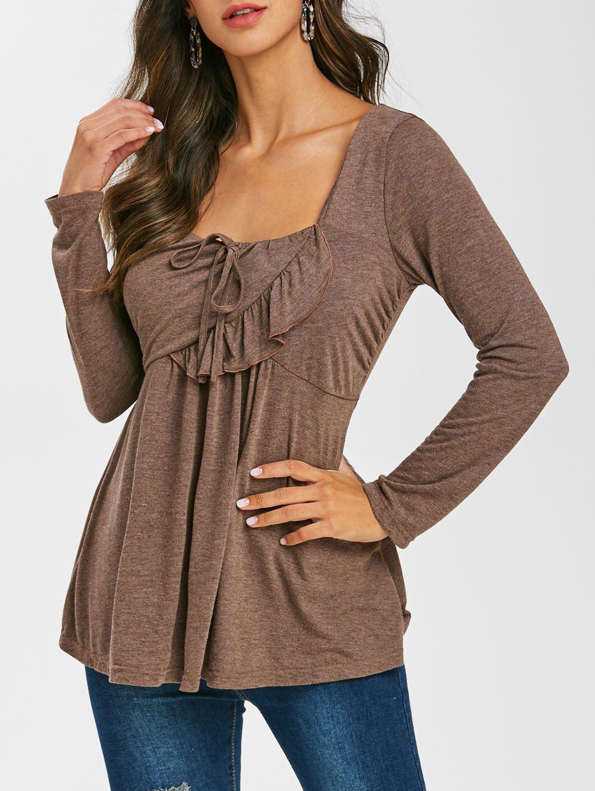 Hot Long Sleeve Space Dye Print Ruffle T-shirt