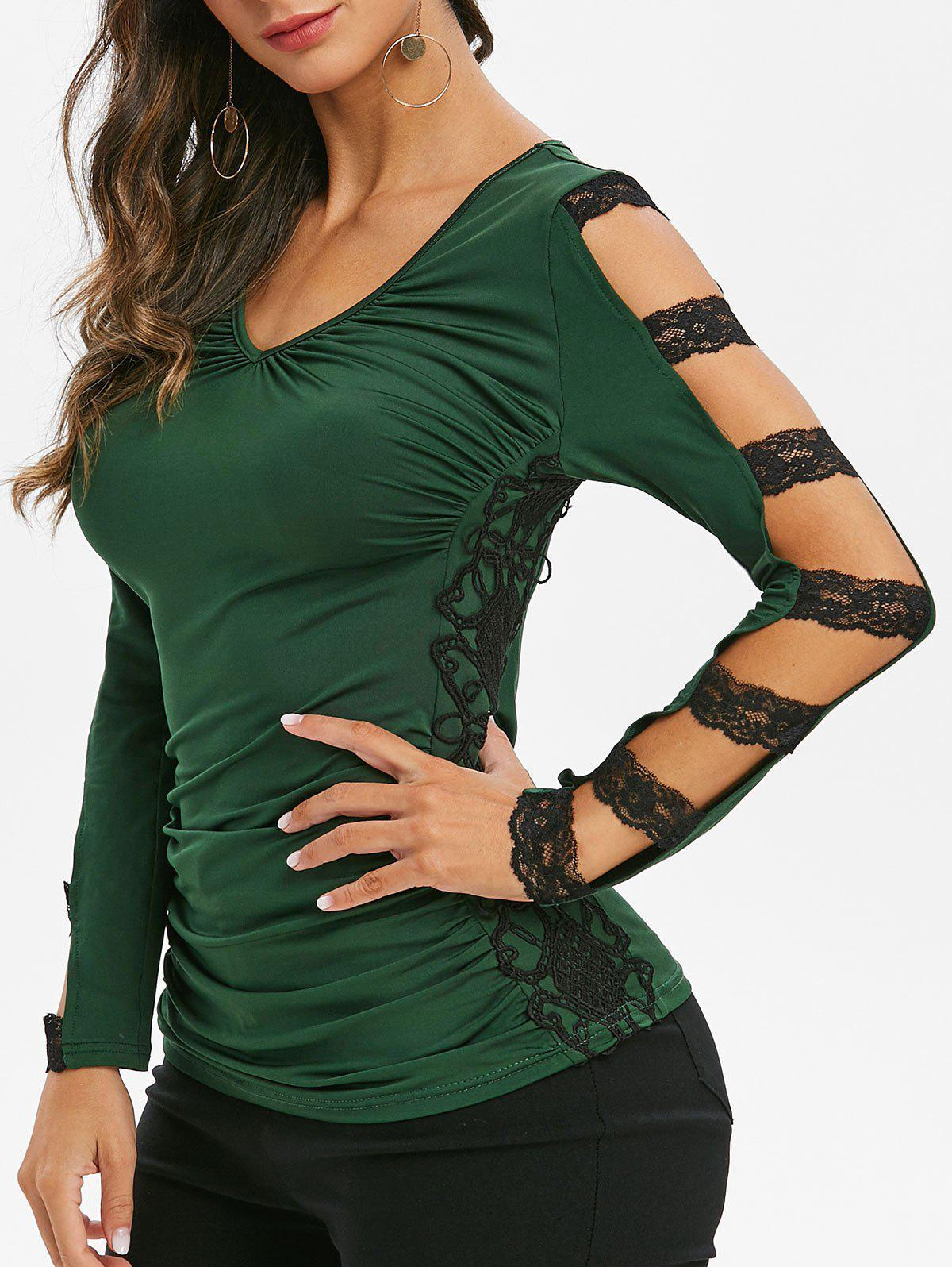 Best Lace Panel Ruched V Neck Tee