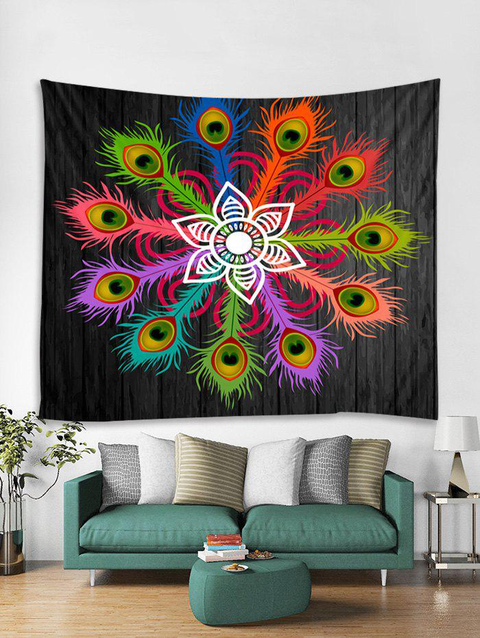 Trendy Feather Wooden Board Print Tapestry Wall Hanging Art Decoration