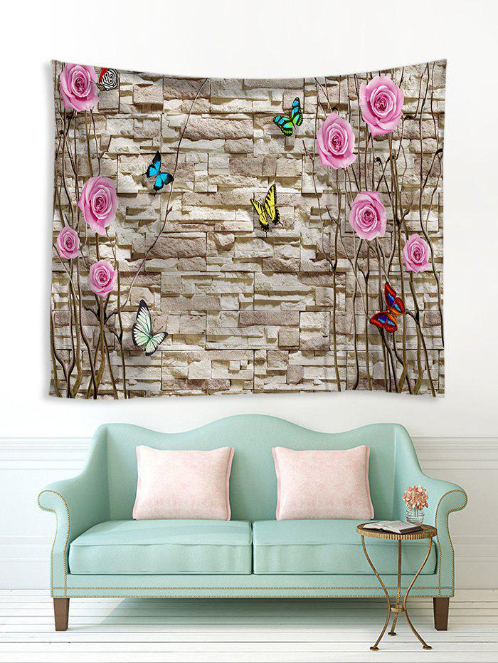 Store Brick Wall and Flowers Print Tapestry Wall Hanging Art Decoration