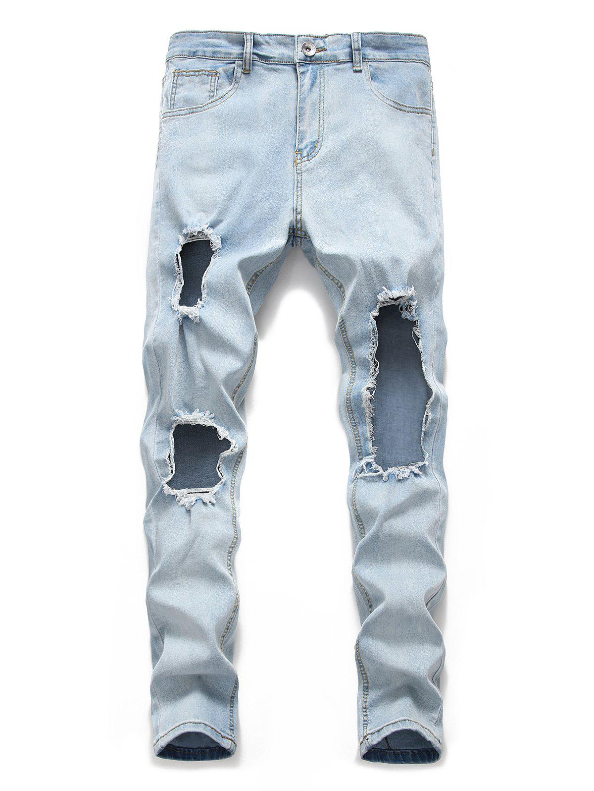 Fashion Destroyed Design Zip Fly Casual Jeans