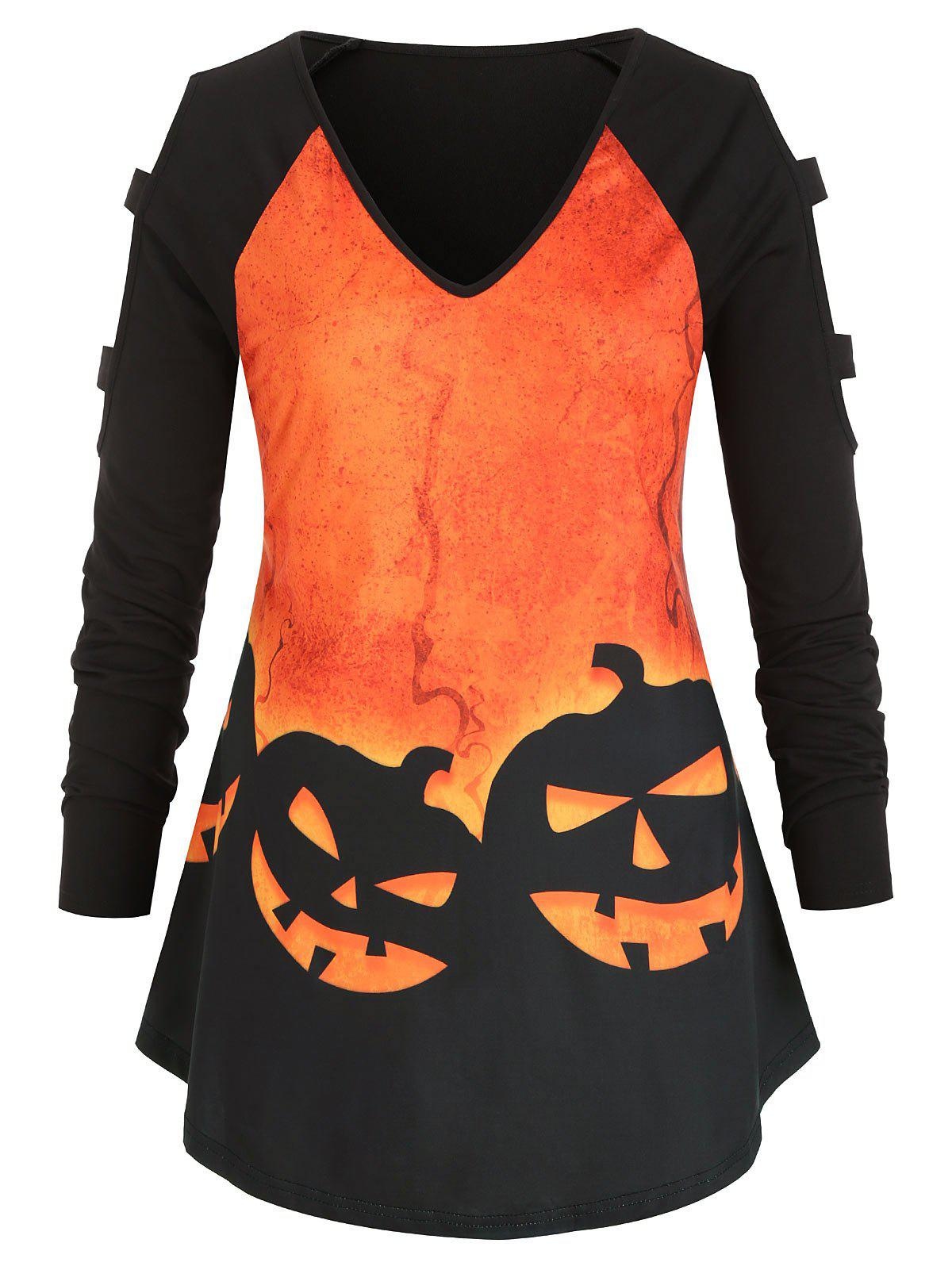 Cheap Plus Size Halloween Pumpkin Print Cold Shoulder Tunic Top