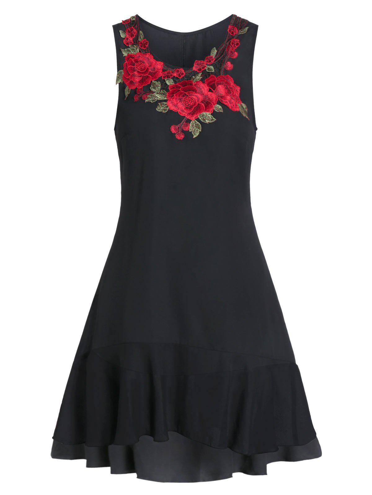 Best Embroidered Sleeveless Fit And Flare High Low Dress