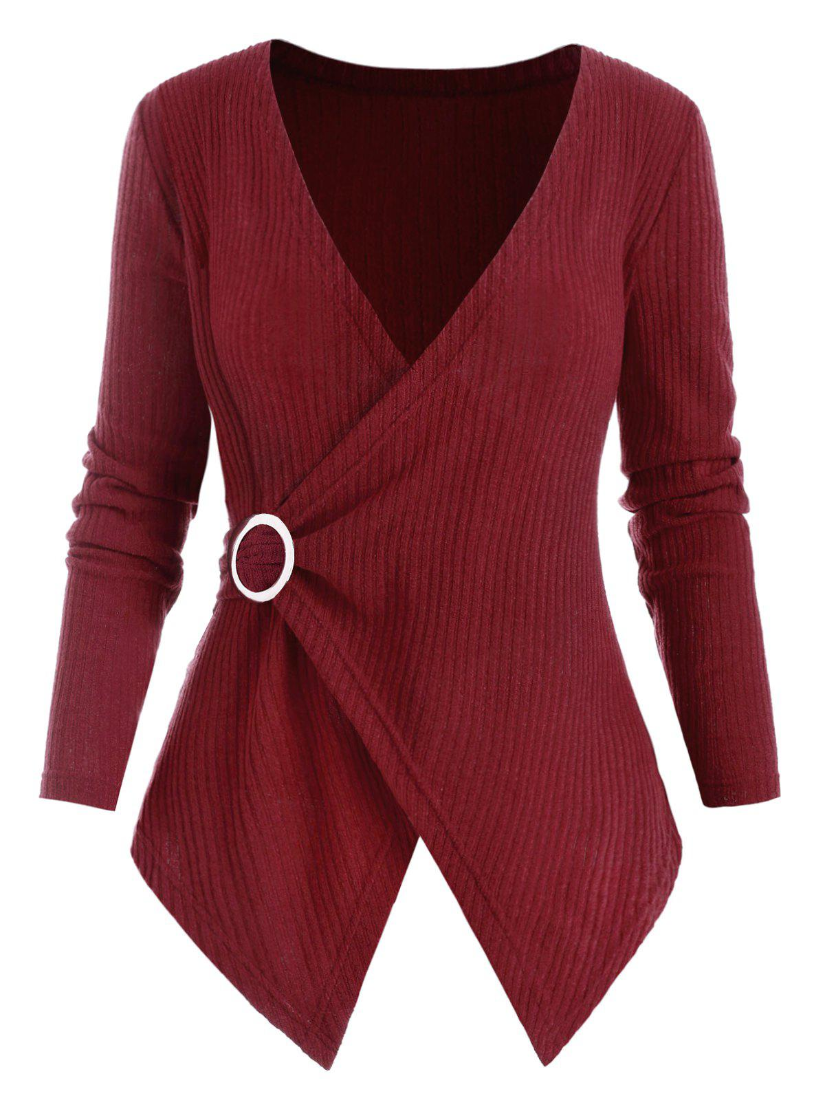 Outfit O Ring Cross Front Ribbed Plus Size Knitwear