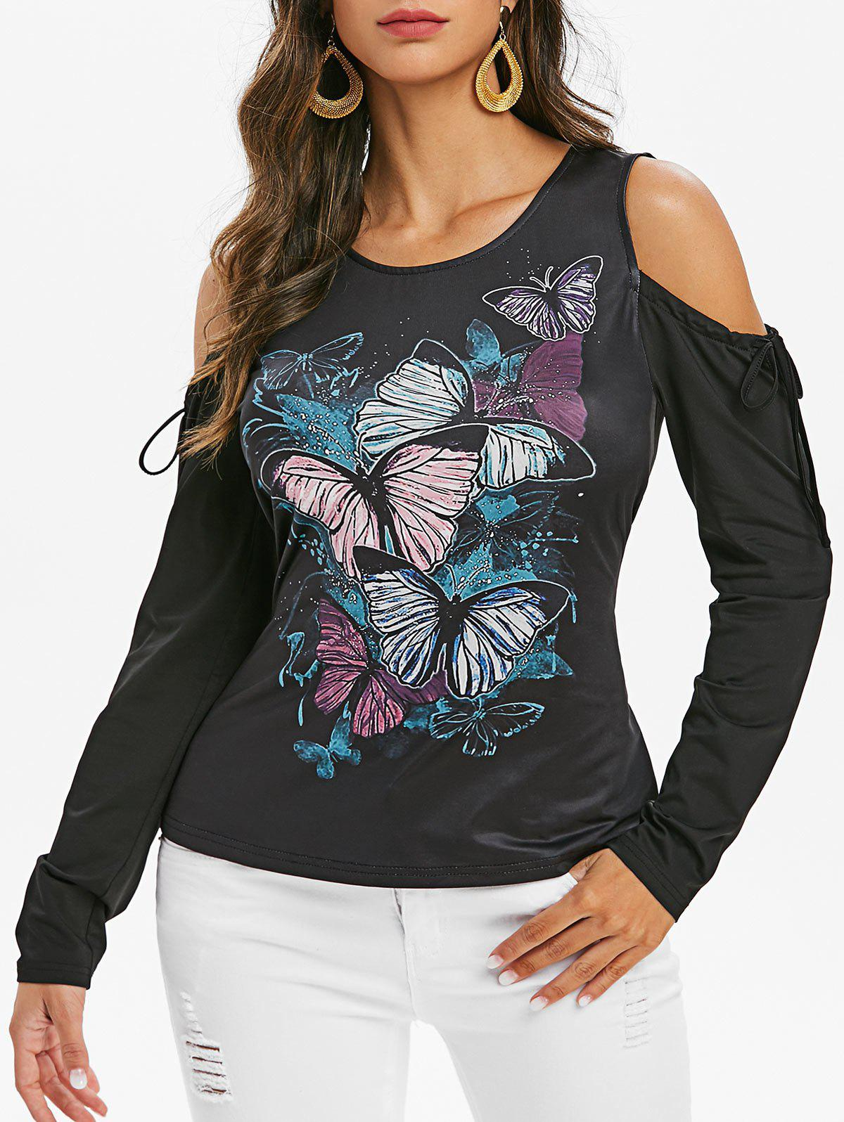 Latest Front Tie Cold Shoulder Butterfly Print T-shirt