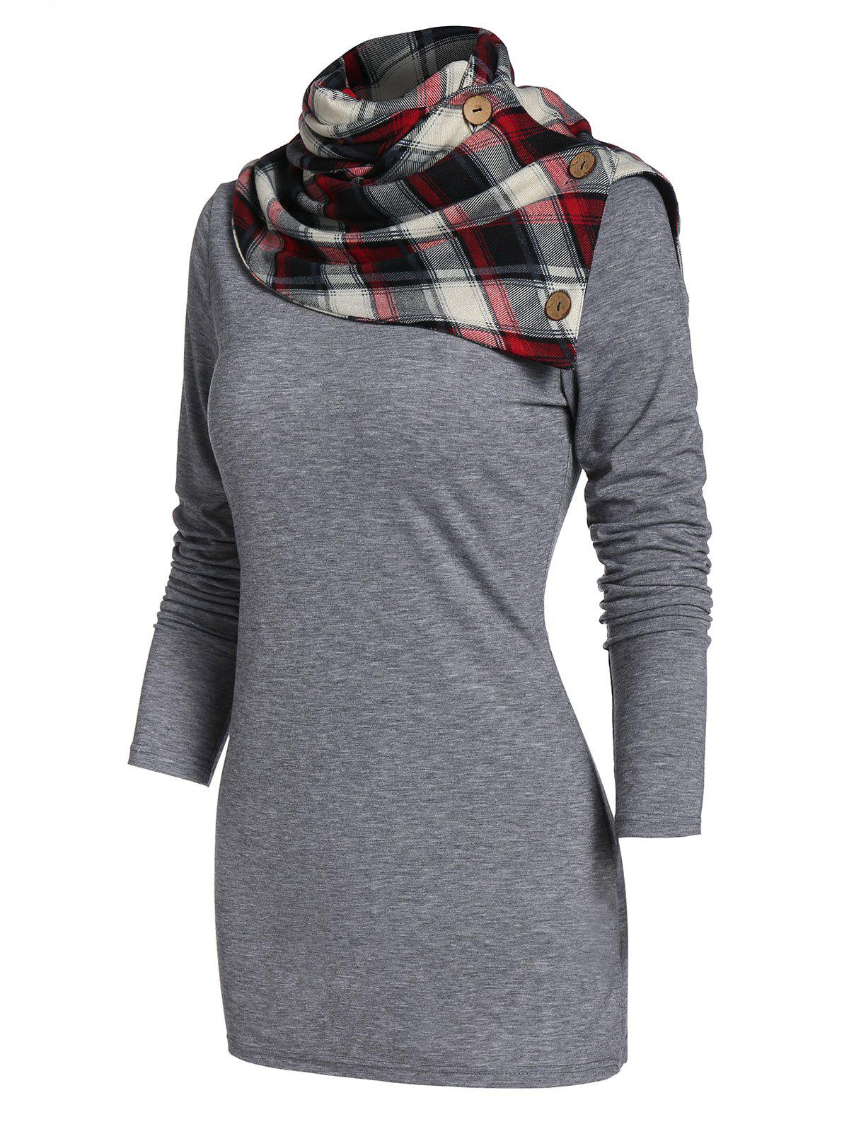 Discount Cowl Neck Plaid Panel Tunic T Shirt