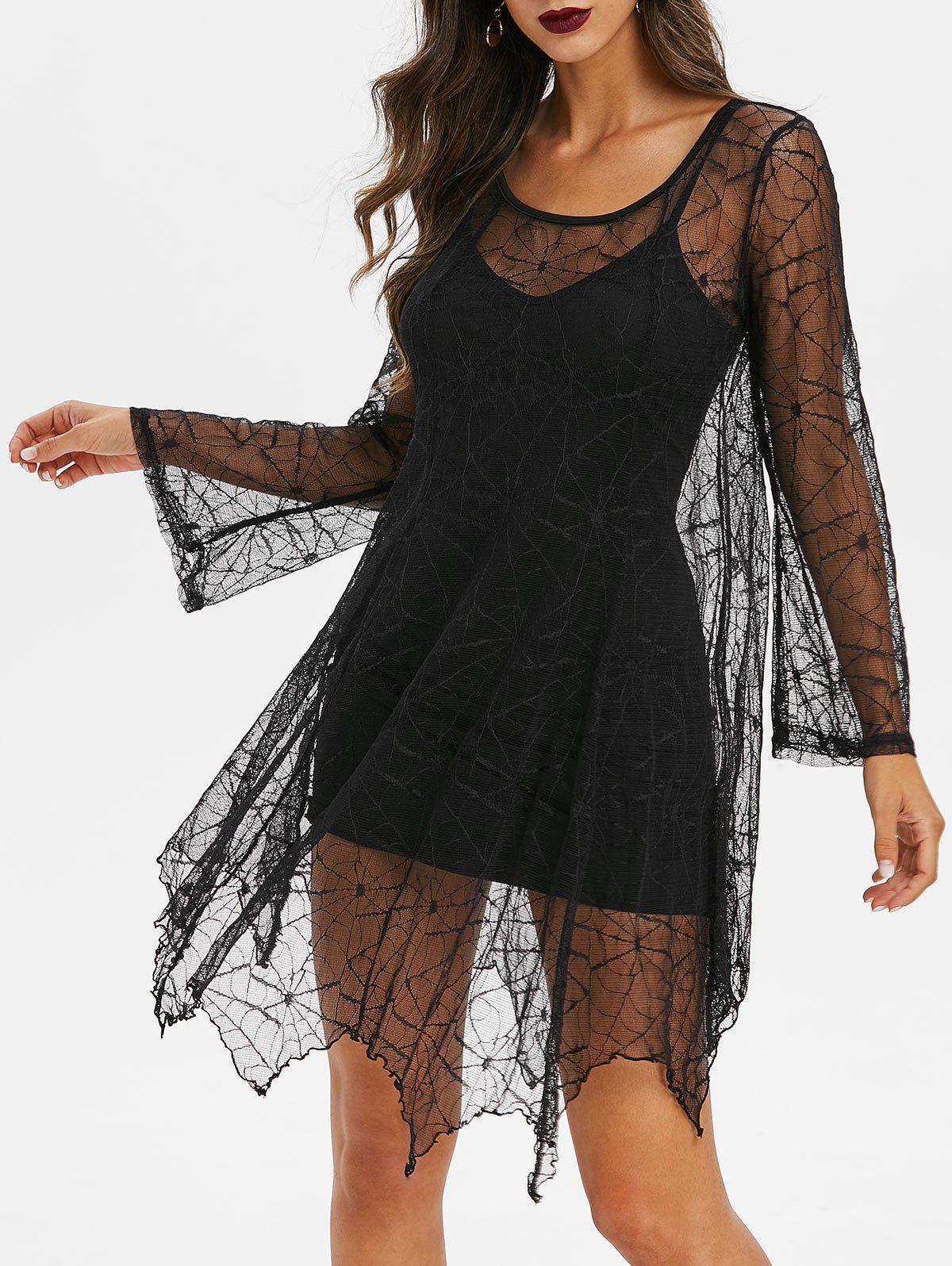 Fashion Spider Web Lace Dress And Cami Dress Gothic Set