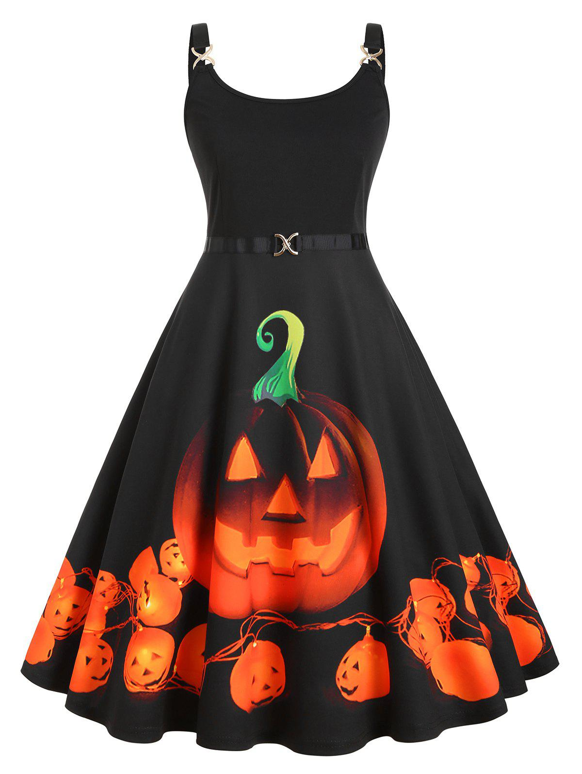 Online Straps Pumpkin Print Halloween Plus Size Vintage Dress