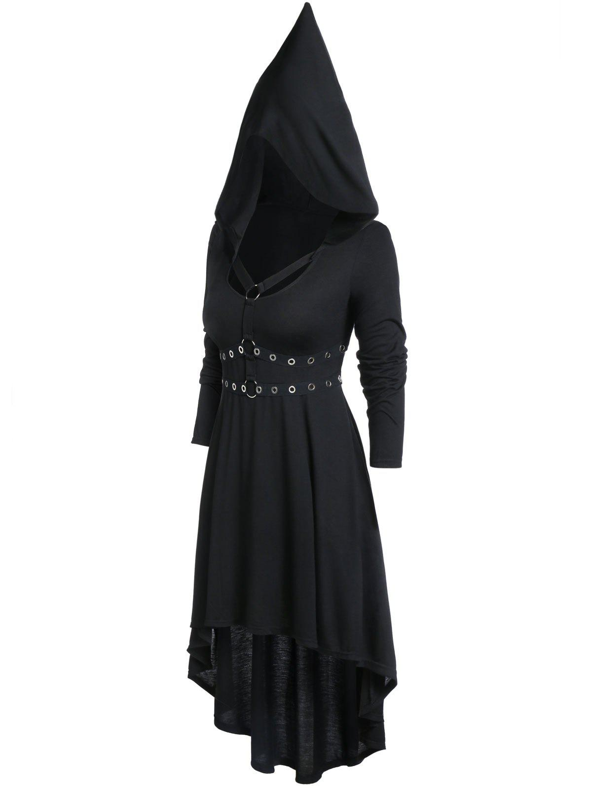 Store Plus Size High Waist Long Sleeve Rings Gothic Dress