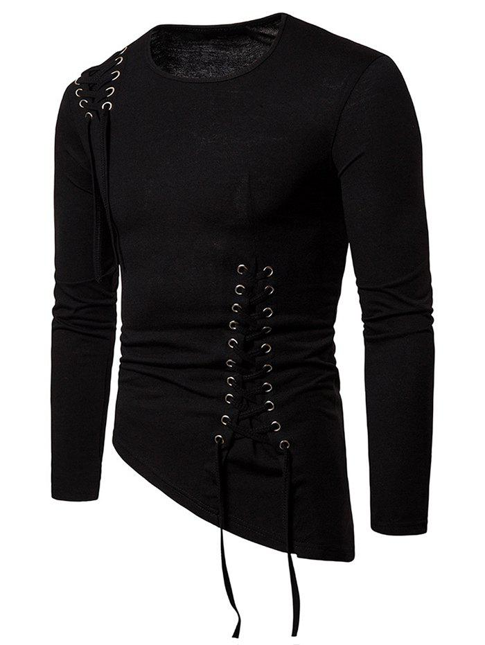 Cheap Solid Color Lace-up Long Sleeves T-shirt