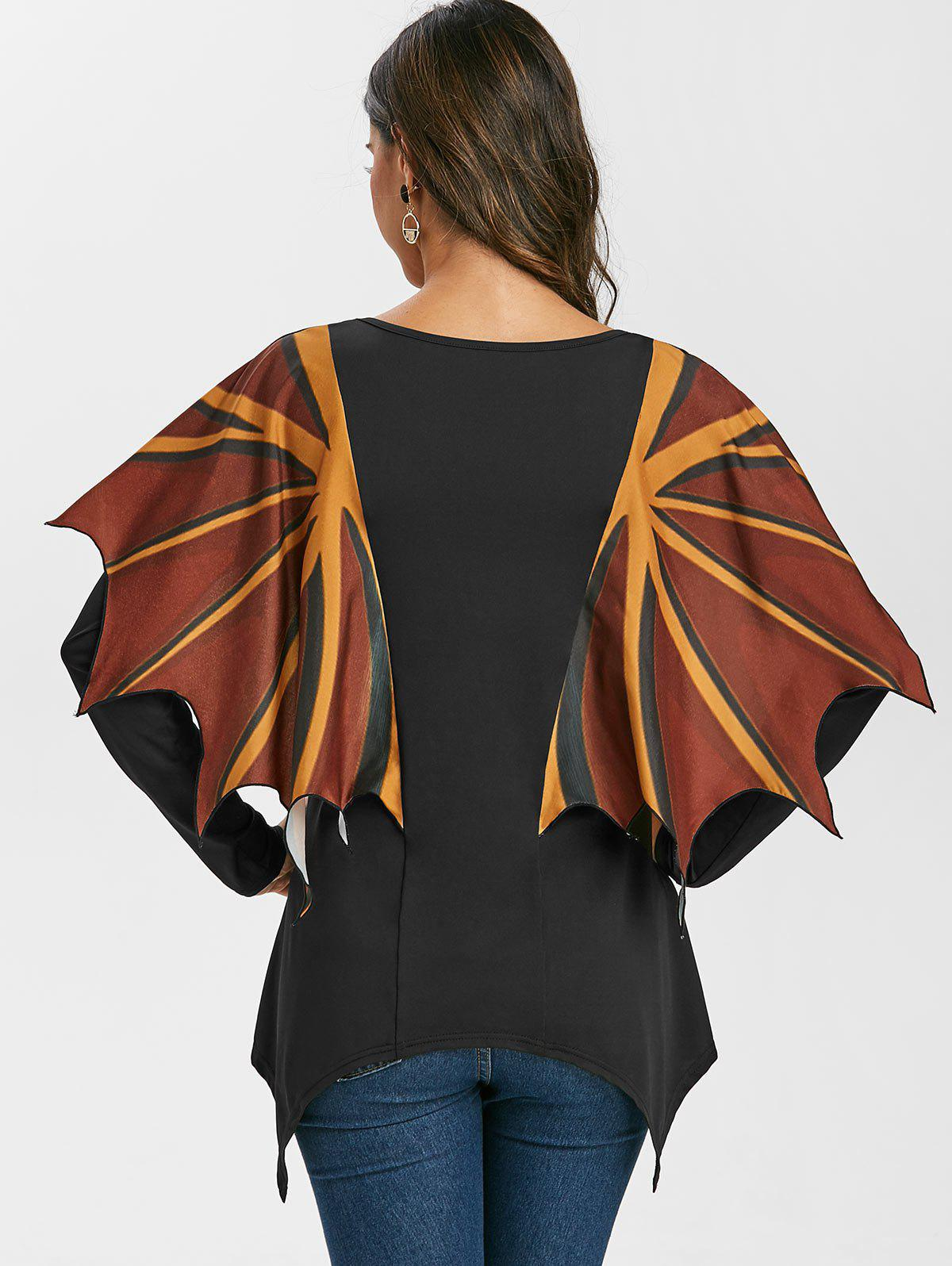 Hot V Neck Asymmetrical T Shirt with Wing