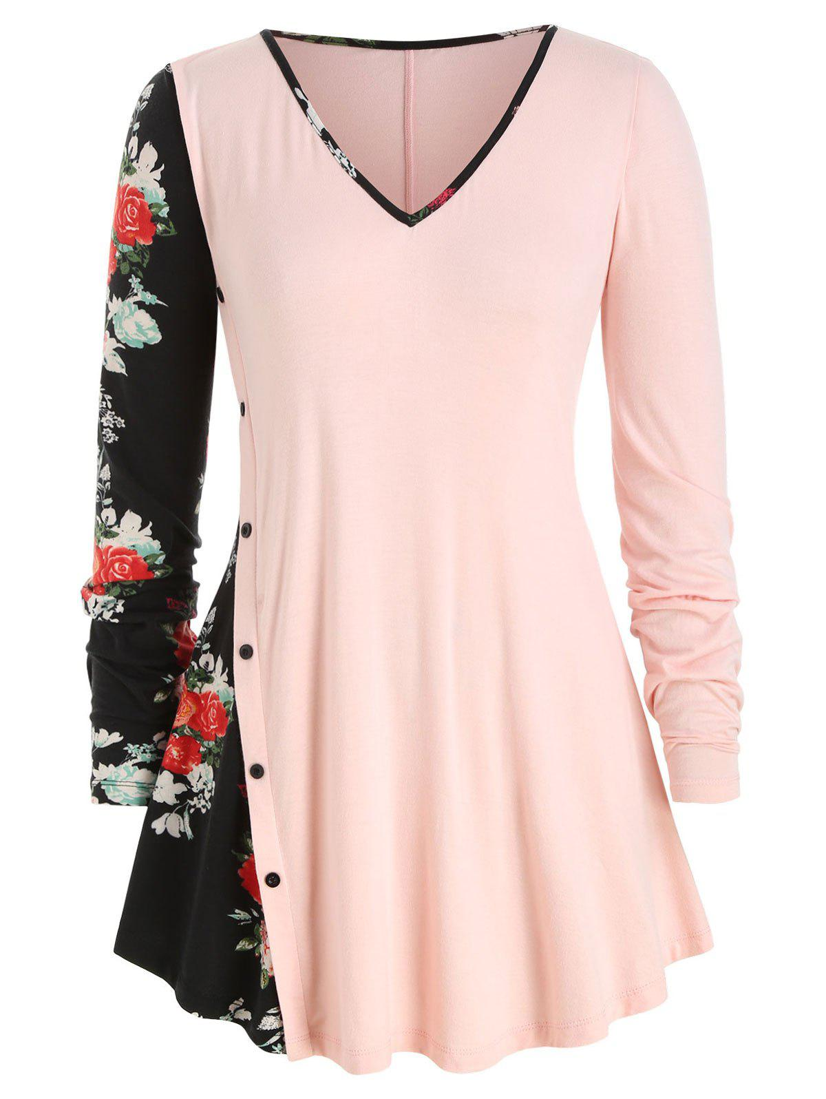 Buy Plus Size Mock Button Floral Panel Tunic Top
