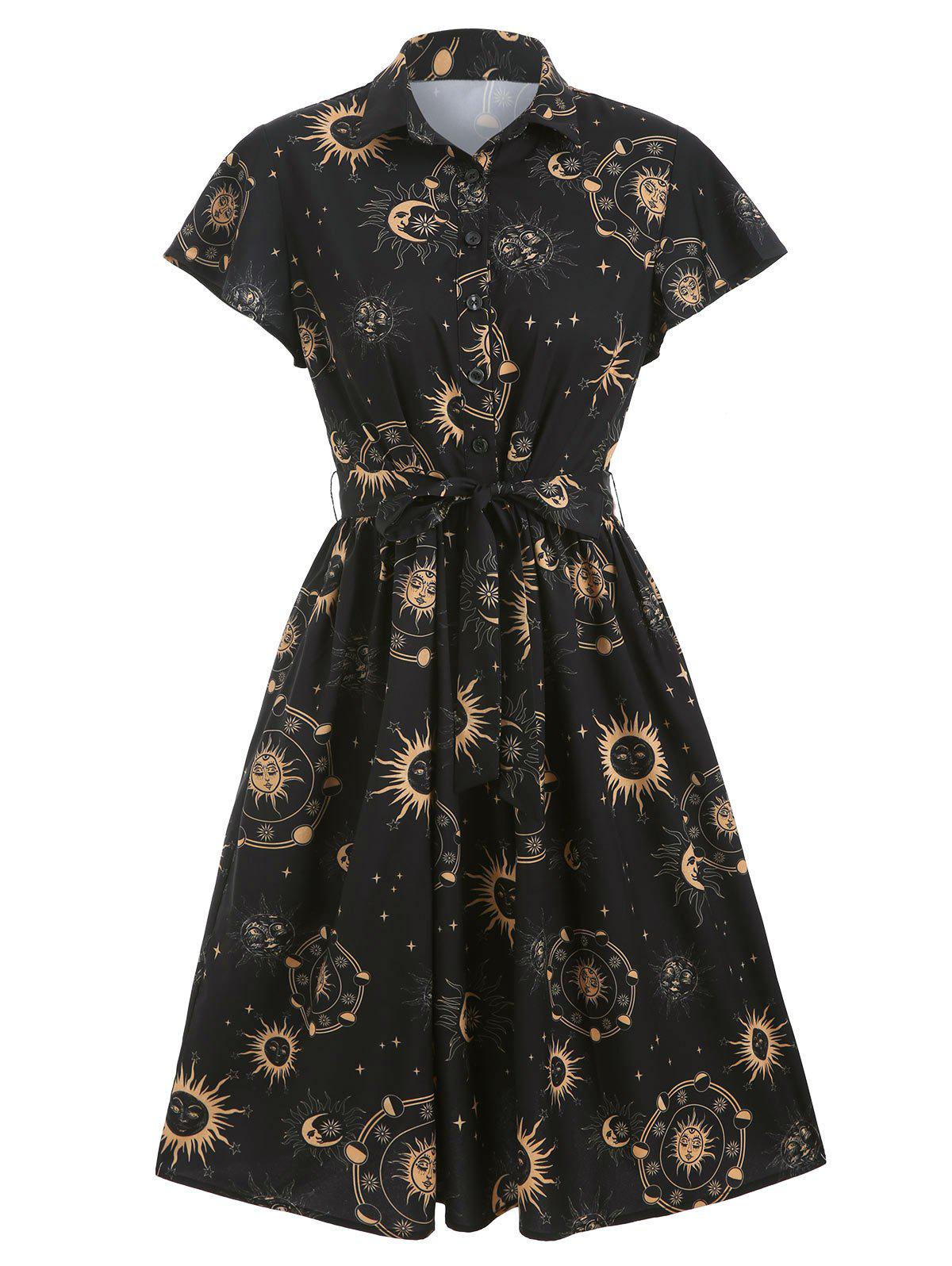 Fancy Sun Moon and Star Print Belted Skater Dress