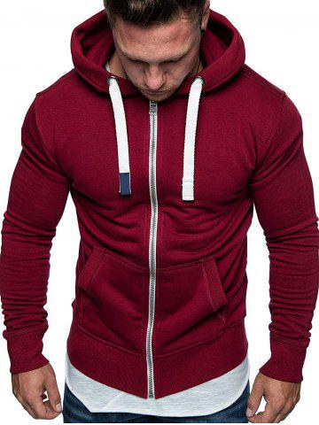 Drawstring Zip Up Pockets Fleece Hoodie