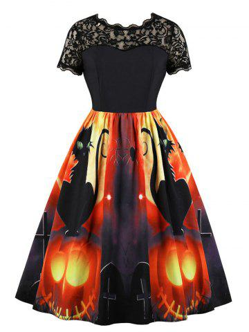 Lace Panel Pumpkin Print Round Neck Halloween Dress